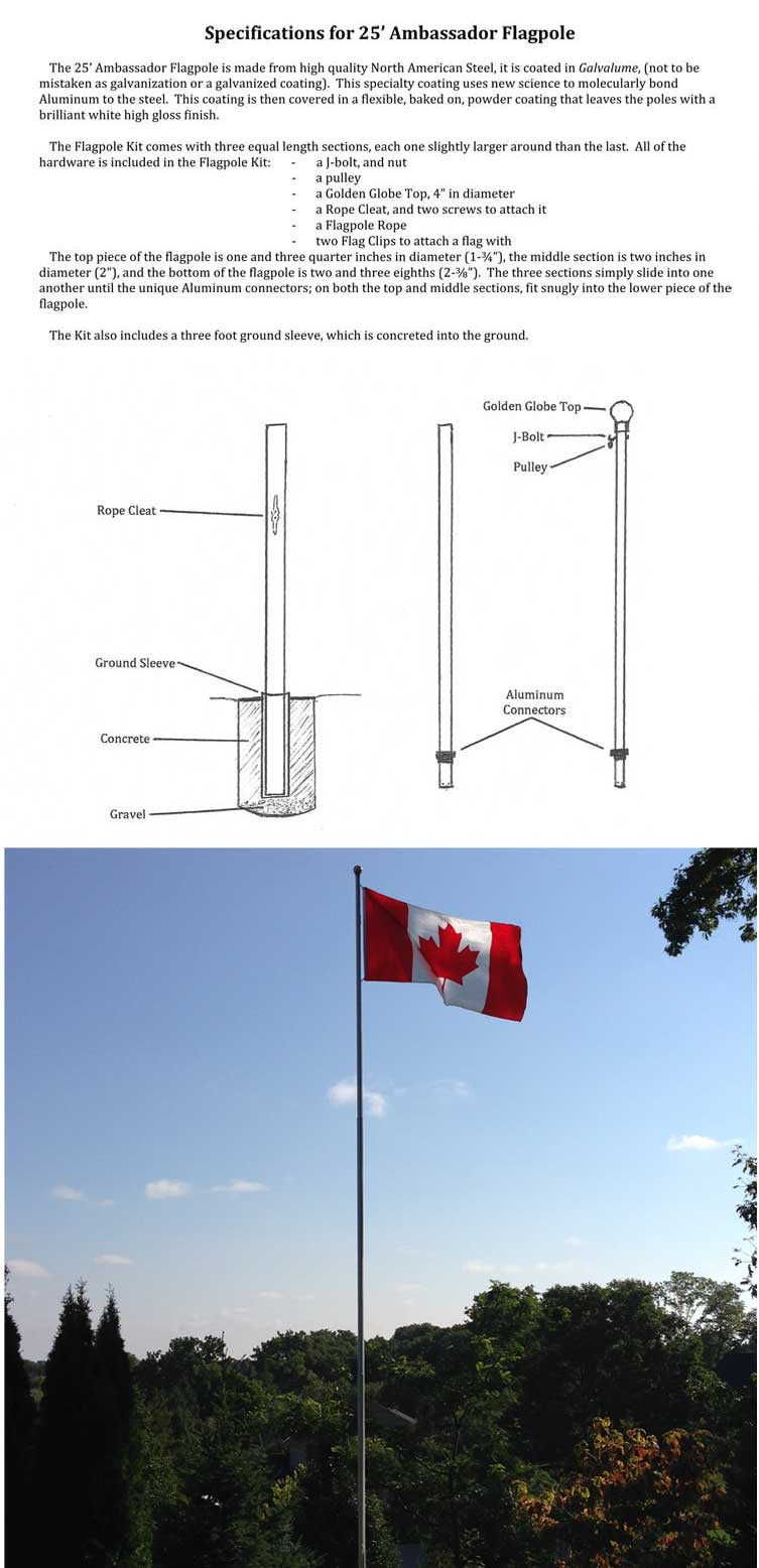 25ft Ambassador Galvalume Steel Pole, External Halyard